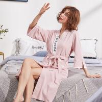女士韩版粉睡袍女夏纯棉中长款可爱春夏季短袖浴袍全棉居家服浴衣