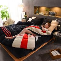 床上法兰绒四件套冬季加厚保暖珊瑚绒床单被套双面毛绒法莱绒床品