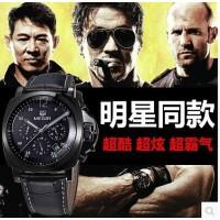 韩版时尚潮流精钢商务休闲男表多功能石英表男士手表