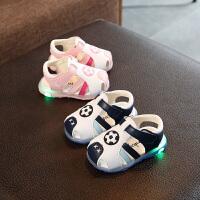 宝宝凉鞋夏软底防滑男童婴儿学步鞋包头防踢女童亮灯鞋