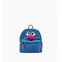 秋冬韩版个性创意可爱双肩包卡通毛绒书包可可超人背包 蓝色