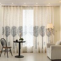 客厅窗帘成品欧式大气半遮光布料书房亚麻棉麻窗帘b