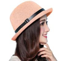 春季帽子女英伦渔夫帽   女夏天卷边小礼帽   爵士沙滩遮阳帽