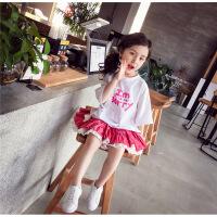 女童T恤短袖夏装2018新款儿童上衣韩版字母宽松打底衫小女孩衣服