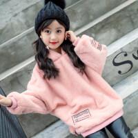 儿童卫衣女2018新款秋装韩版女童加绒加厚中长款秋冬大童童装外套