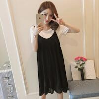 孕妇连衣裙夏季套装韩版时尚孕妇裙中长款上衣宽松裙子孕妇装夏装6073 黑色
