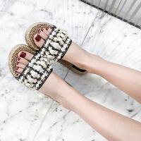 沙滩鞋 女士珍珠贝壳度假外穿拖鞋2019夏季新款韩版时尚女式休闲可爱沙滩鞋女鞋凉鞋