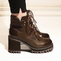 马丁靴女英伦风2018秋冬女鞋新款防水台瘦瘦网红靴子粗跟高跟短靴