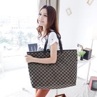 吉野新款韩版女包包格子包女士单肩包时尚百搭休闲大包包尼龙防水包简约潮流妈咪包大容量旅行包