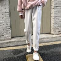 秋冬女装两件套加绒加厚宽松卫衣加呢子休闲裤时尚套装潮 均码