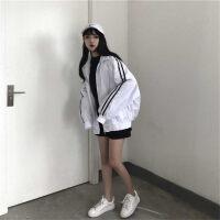 春秋女装韩版原宿风情侣宽松运动休闲短款外套加棉厚款条纹风衣