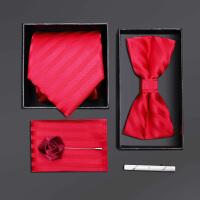 男士正装领带结婚新郎领结红色条纹五件套礼盒装
