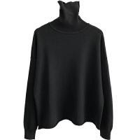 高领针织衫女式冬显瘦宽松韩国糖果色休闲毛衣套头长袖加厚打底衫 均码