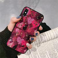 红色爱心滴胶锡箔8plus苹果x手机壳XS Max/XR/iPhoneX/7p/6女iphone6s I6/6s 锡箔
