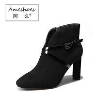 阿么秋冬真皮单靴高跟鞋细跟靴女款短靴子磨砂靴交叉皮带扣及踝靴