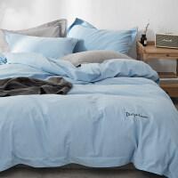 8斤重加厚磨毛四件套全棉纯棉简约纯色冬季保暖床上用品床单被套