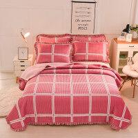 水晶绒床盖三件套加厚夹棉防滑床单件珊瑚绒床上铺睡垫盖毯子冬季