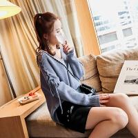 V领绑带露肩纯色套头针织衫毛衣外套女装秋季韩版宽松chic风上衣 均码