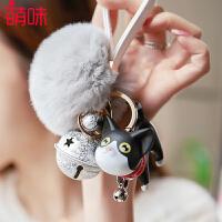 萌味 钥匙扣 简约汽车钥匙链可爱小猫吊坠公仔毛绒挂件饰品送朋友学生礼品装饰品