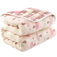 毛巾被单人双人纱布毛巾毯子夏凉被婴儿童毛毯午睡毯空调盖毯 墨绿色 八层雨伞/加厚