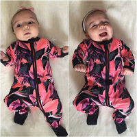 ins男女宝宝长袖纯棉爬服婴儿连体衣可包脚百天满月新生幼儿