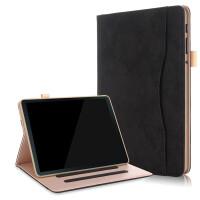 三星Galaxy Tab A 10.5 T595C保护套10.5英寸sm-T590平板电脑皮套T59 黑色+带钢化膜+