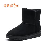 【领�幌碌チ⒓�120】红蜻蜓女鞋雪地靴女新款短筒一脚蹬女冬靴子短靴加绒棉鞋
