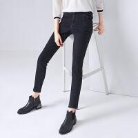 初语2020春装新款时尚紧身小脚黑色高腰显瘦铅笔裤牛仔裤女
