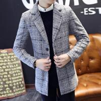 春秋青年男士短款毛呢大衣韩版商务男装修身风衣潮男格子呢子外套 5/M 110斤左右