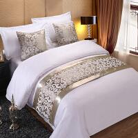 酒店床上用品绗缝床盖三件套床旗床尾巾酒店宾馆