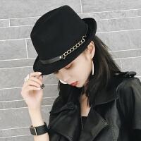 2018新品韩国秋冬英伦帽子时尚复古毛毡呢礼帽小沿卷边男女士锥顶爵士帽潮 M(56-58cm)