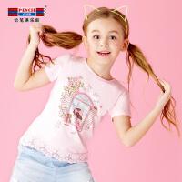 【3件2折价:19.8】铅笔俱乐部童装2019夏装新款女童短袖T恤中大童圆领上衣 儿童T恤
