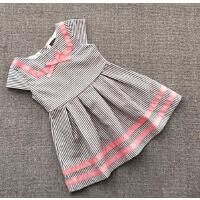 童装纯元货夏款女童海军风条纹裙子气质款短袖连衣裙1-3-6岁
