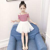 女童夏装新款洋气时髦套装衣服儿童短袖两件套裙子小女孩童装
