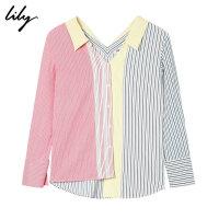 Lily春新款女装不对称细条纹拼接单排扣宽松衬衫118330C4647