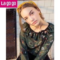 【3折价72】Lagogo/拉谷谷2017秋新款女装荷叶边撞色喇叭袖印花衬衫雪纺上衣