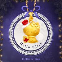 周大福Hello Kitty凯蒂猫系列圣诞小红帽足金黄金吊坠R13820
