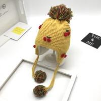 婴儿帽子秋冬季3-6-12个月1岁宝宝帽子冬女孩2护耳加绒加厚毛线帽 黄色 (樱桃加绒款) 均码