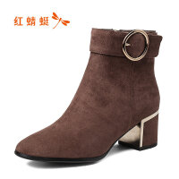 【年��限�r��,�I�辉�p20】�t蜻蜓女鞋切��西短靴女粗跟高跟女靴加�q棉靴中筒�L靴子