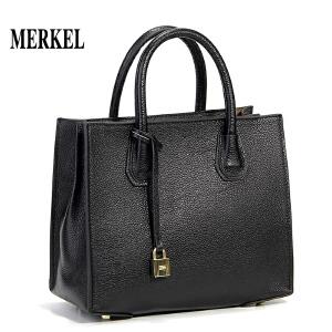 【送手包】莫尔克品牌女包新款同款锁头包头层牛皮荔枝纹简约真皮手提包女单肩斜挎包