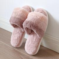 棉拖鞋女毛毛拖鞋开口家居秋冬季室内保暖家用毛绒情侣居家拖鞋男