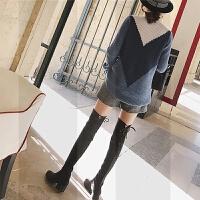 2018新款绑带4.5cm秋冬粗跟中跟长筒靴显瘦过膝靴瘦腿弹力长靴女SN3526 黑色 单里