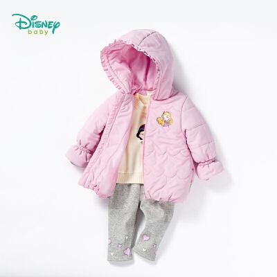 【10.19秒杀价:95】迪士尼Disney童装 女童外套秋冬新款保暖夹棉美人鱼卡通上衣宝宝带帽外出服棉袄184S1051 甜美可爱连帽夹棉外套