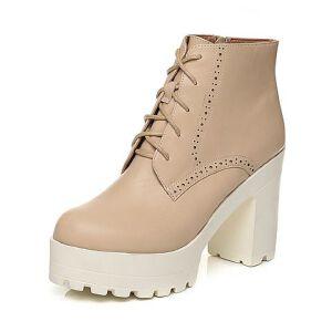 Tata/他她2017秋牛皮雕花绑带通勤粗高跟女短靴2C146CD7