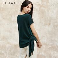 JII设计师宽松大码棉麻纯白色不规则上衣短袖款t恤女高腰2018夏季
