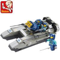 小鲁班拼装积木 军事攻击艇儿童男孩益智塑料拼插玩具船M38-B0197