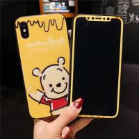 小熊维尼苹果7plus钢化膜iphone8卡通可爱彩膜6s手机壳6全屏x全包 苹果x 举手熊膜+玻璃壳