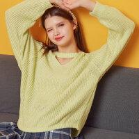 【1件2折到手价:28】美特斯邦威毛衫女士冬装新款休闲领口镂空创意花纱长袖毛衫