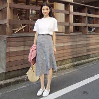 春夏韩版复古黑白格子半身裙不规则拼接鱼尾裙中长裙女