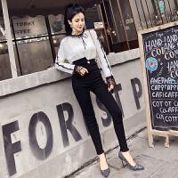 时尚套装女韩版蕾丝拼接长袖上衣+高腰显瘦小脚铅笔裤两件套